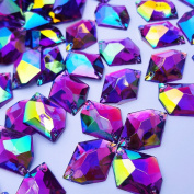 Amazingly 16x21mm Purple AB Cosmic Shape Flatback Sew on Acrylic Fancy Crystal Clear Sewing Rhinestone For DIY Wedding Dress Accessories 40PCS