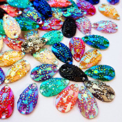Sparkly AB Colour Sew On 100pcs Beads Rhinestones Flatback Sewing For Clothing Wedding Dress Decorations 11x18mm