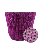 Glittering Faux Diamond Dazzling Faux Rhinestone Mesh Ribbon Wrap for Arts and Crafts Decorations and Cake Decorations, 1 Strip 11cm x 0.9m - Fuchsia