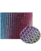 Glittering Faux Diamond Dazzling Faux Rhinestone Mesh Ribbon Wrap for Arts and Crafts Decorations and Cake Decorations, 1 Strip 11cm x 0.9m - Rainbow Vertical
