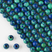 Cherry Blossom Beads Large Hole Synthetic Azurite 8mm Smooth Round with a 2.5mm Drilled Hole - 8 Inch Strand Approximately 26 Beads Per Strand