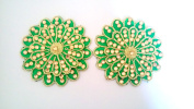 Green beaded Applique Decorative dress patch Indian flower Applique dress craft supplies-Price for 02 patch-SMP09