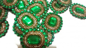 Handmade green Appliques, Sewing Craft, Round Patch, Decorative Applique, Embellishments, Wedding Dress Applique -Price for 02 patch-IDE14