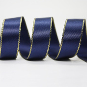 """3/8"""" 9MM Polyester Satin Ribbon with Gold Edges 20 Yards"""