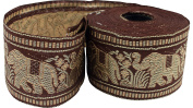 RaanPahMuang Silk Thread Ribbon Trim Roll Thai Elephant 5.8cm x 15 yards, Brown