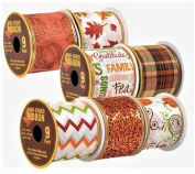 Decorative Autumn Harvest Fall Wire-Edged Ribbon, 3-yd. Spools, 7-ct Set