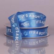 It's A Boy Blue Satin Ribbon With White Print - 5/8 Width - 25 Yards