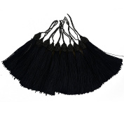 Makhry 52pcs 15.5cm/6 Inch Silky Floss bookmark Tassels with 2-Inch Cord Loop and Small Chinese Knot for Jewellery Making, Souvenir, Bookmarks, DIY Craft Accessory