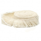 FQTANJU 5 Yards X 2cm Wide Cotton Tassel Fringe In Beige.