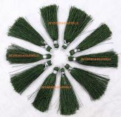 Hurry . 10 Pcs. Lot 5.1cm Dark Olive Green Art SILK Tassel, Solid Colour Tassel, Rustic Braided Short Loop Tassels, Handmade, Jewellery Tassel - in . .