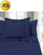 Elegant Comfort® Wrinkle & Fade Resistant 1500 Thread Count - Damask STRIPES Egyptian Quality Luxurious Silky Soft 4pc Sheet Set, Up To 41cm Deep Pocket, Queen, Navy Blue