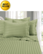 Elegant Comfort® Wrinkle & Fade Resistant 1500 Thread Count - Damask STRIPES Egyptian Quality Luxurious Silky Soft 4pc Sheet Set, Up To 41cm Deep Pocket, King, Sage