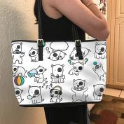 VOTANTA - Bull Terrier emotions Tote Bag For Women and Girls (white)