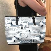 VOTANTA - Dachshund Vector Tote Bag For Women and Girls (White)