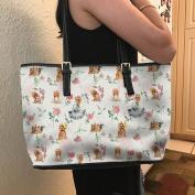 VOTANTA - Yorkie Flower Tote Bag For Women and Girls (white)