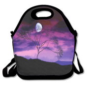 LaiER Lunch Bag Clouds Night Purple Sky-01 Durable Insulated Reusable Tote Bag Picnic Lunchbox Food Container For Kids,Adult School Work Office