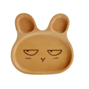 NACOLA Cartoon Rubber Wood Emotions Bunny Rabbit Sub-grid Plate for Children