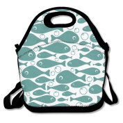 Fishes Pattern Lunch Bag Adjustable Strap