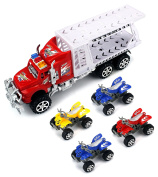 ATV Transporter Trailer Children's Friction Toy Truck Ready To Run w/ 4 Toy ATVs, No Batteries Required