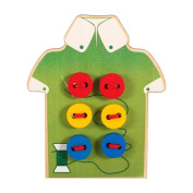 Children's Education Sew Button Pretend Play Beads Toys Board of Wooden Toys