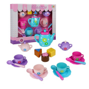 Tea Set, Cake Toy, Teapot Set, Role Play Food Game 18 Pcs Birthday Gifts for Girls Boys 3 4 5 6 Year Olds