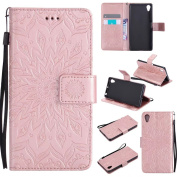 COWX Flip Book Style Case with Soft Silicone Mobile Phone Case for Sony Xperia X Faux PU Leather Case with Holder for Sony Xperia X Wallet Protective Case Cover for Sony Xperia X