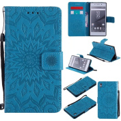 COWX Xperia Z5 PU Leather Book Style Flip Wallet PU Leather Case with Soft Silicone Mobile Phone Holder for Sony Xperia Z5 Wallet Protective Case Cover for Sony Xperia Z5