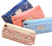 Gemini_mall® Set of 4 Pastorable Flower Floral Canvas Double Zipper Large Make Up Cosmetic Pen Pencil Case Stationery Storage Pouch Bag