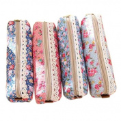 Gemini_mall® Set of 4 Pastorable Flower Canvas Pen Pencil Case Stationery Storage Pouch Bag