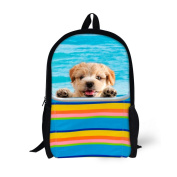 Showudesigns Blue Cute Junior Student Puppy Dog Bacpack for School Durable