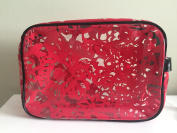 "Saks Fifth Avenue LIMITED EDITION ""Red Lace"" Vinyl Travel/Cosmetic Bag"