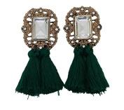 Women Crystal Earring Vintage Tassel Statement Stud Earrings Jewellery Colour Green