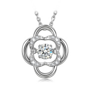 Dancing Heart Floral Fairy 925 Sterling Silver Necklace for Women