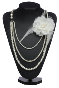 BABEYOND Vintage 1920s Long Pearl Necklace Flapper Gatsby Pearl Accessories Necklace Imitation Pearl Choker Necklace with Lace Flower Brooch Multi-layer