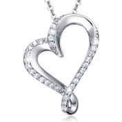 Sterling Silver Infinity Heart Necklace Billie Bijoux Endlessness Love Platinum Plated Diamond Pendant