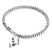 Onefeart Stainless Steel Bracelet Women Cute Dolphin Pendant,Allergy Free,Anti-fading,Perfect Technology