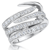 Jools by Jenny Brown® 925 Silver Ring Open Band Style All Set With The Finest White Brilliant Cubic Zirconia Stones