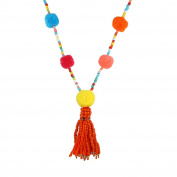 Lureme Women's Bohemian Handmade Colourful Pom Pom Long Beaded Chain Tassel Necklace