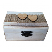 OUNONA Wooden Ring Box Double Love Heart Rustic Engagement Wedding Ring Bearer Box Holder