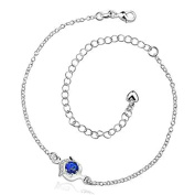 Epinki Jewellery Fashion Silver Plated Anklet Women Pendant Heart Crystal Barefoot Foot Chain Silver