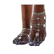 Epinki Jewellery Foot Anklet Toe Chain Anklet Chain Bohemian Coins Shells Beach Chain Gold Silver