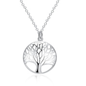 SavingMart Silver Plated Tree of Life Necklace Hollow Out Charm Pendant Jewellery Gift for Women Girls