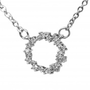 """S925 Sterling Silver Open Circle Eternity Necklace. Rhodium Plated w/ 25 AAA Cubic Zirconia Diamonds. 18"""" (45cm) adjustable Chain w/Lobster Claw Clasp, presented in an exquisite Black Jewellery Gift Box"""