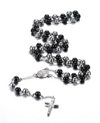 Vnox Stainless Steel Rosary Beads Catholic Crucifix Long Chain Cross Necklace,Black and Silver