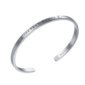 """SOLOCUTE Cuff Bangle Bracelet Engraved """"Live The Life You Love"""" Inspirational Jewellery, Perfect Gift for Christmas Day, Anniversary Day, Thanksgiving Day and Birthday"""