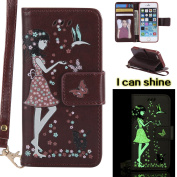 iPhone 5S Flip Cover, iPhone SE Leather Case, BONROY® Luminous Girl and Cat Embossed Pattern Premium PU Leather Wallet Book Style Protective Case with Card/Cash Slots Wrist Strap For iPhone SE 5S 5 - brown