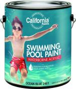 California Waterborne Acrylic Swimming Pool Paint, 3.8l Blue, Slight Ammoniacal, Viscous Liquid