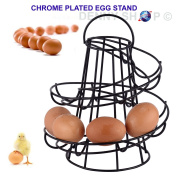 Home Kitchen Swirl Spiral Helter Skelter Egg Storage Holder Stand Available in Silver, Black and White Colour