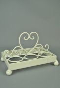 Shabby chic style White Distressed Metal Egg Holder with Heart detail