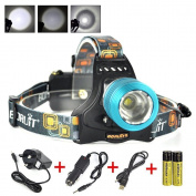 Huntvp Led Head Torch, Xml-t6 2000 Lumens Led Headlight Waterproof Zoomable #2ex